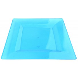 Plato Plastico Cuadrado Extra Rigido Turquesa 20x20cm (88 Uds)