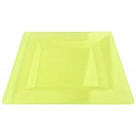 Plato Plastico Cuadrado Extra Rigido Verde 20x20cm (88 Uds)