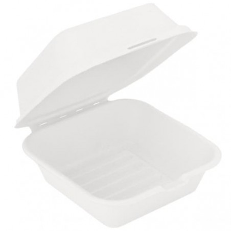 Envase Hamburguesa Caña Azúcar Blanco 152x152x84mm (600 Uds)