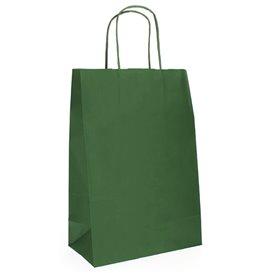 Bolsa Papel Kraft Verde con Asas 80g 20+10x29 cm (250 Uds)