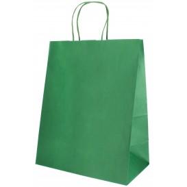 Bolsa Papel Kraft Verde con Asas 80g 26+14x32 cm (250 Uds)