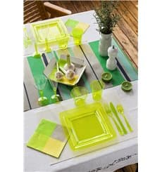 Plato Plastico Cuadrado Extra Rigido Verde 18x18cm (108 Uds)