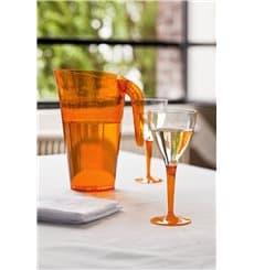 Copa de Plastico Vino Pie Naranja 130ml (6 Uds)