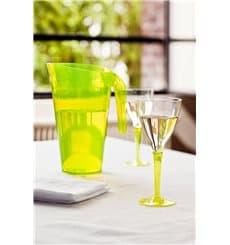 Copa de Plastico Vino Pie Verde 130ml (6 Uds)