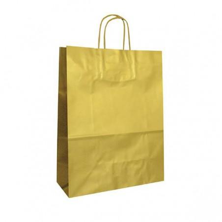 Bolsa de Papel Oro con ASAS KRAFT 100g 32x12x41cm (50 Uds)
