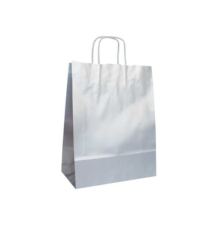 Bolsa Papel Kraft Plata con Asas 100g 24+12x31 cm (250 Uds)