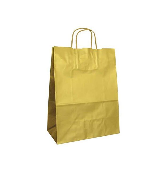 Bolsa Papel Kraft Oro con Asas 100g 24+12x31 cm (50 Uds)