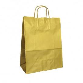 Bolsa Papel Kraft Oro con Asas 100g 24+12x31 cm (250 Uds)