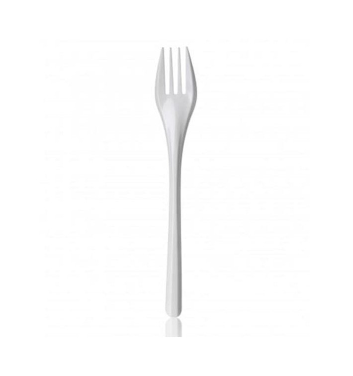 Tenedor de Plastico PS Blanco 165 mm (100 Uds)