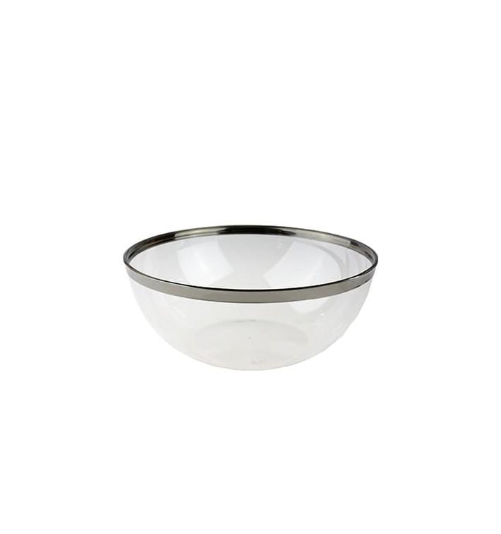 Bol Plástico Transparente Ribete Plata 3500ml (40 Uds)