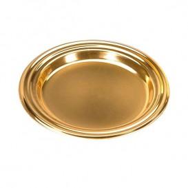 Mini Plato de Plastico para Postre Redondo Oro 8 cm (1000 Uds)