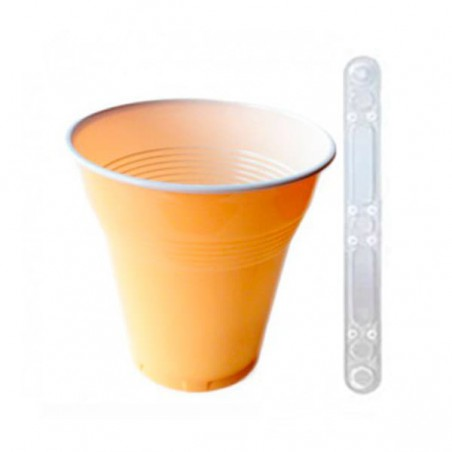 Pack Vaso VENDING 160ml Bicolor 3000 Uds +  Paletina 90mm Transparente