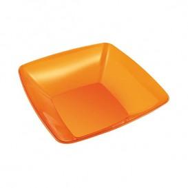 Bol de Plastico Cuadrado Naranja 14x14cm (60 Uds)