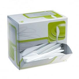 Cuchillos plástico 175mm Blanco en Dispensador (250 Uds)
