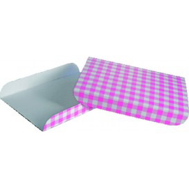 Bandeja de Carton Rosa para Gofres 15x13cm (100 Uds)
