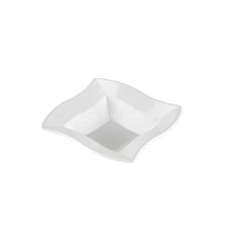 Bol Cuadrado Ondas de Plastico Blanco 18 cm (360 Uds)