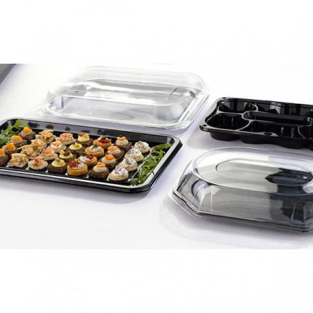 Bandeja Plastico Catering Rectang. Negra 35X24 cm (10 Uds)