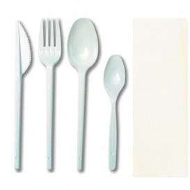 Set Tenedor, Cuchara, Cuchillo, Cucharilla y Servilleta (500 Uds)