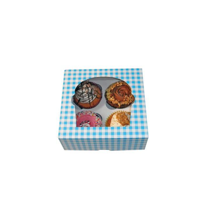 Caja 4 Cupcakes con Soporte 17,3x16,5x7,5cm Azul (20 Uds)