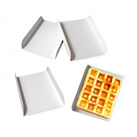 Bandeja de Carton Blanco para Gofres 15x13cm (100 Uds)