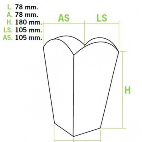 Caja Palomitas Mediana 90 gr 7,8x10,5x18cm (50 Uds)