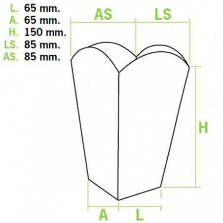 Caja Palomitas Pequeña Blanca 45 gr 6,5x8,5x15cm (50 Uds)