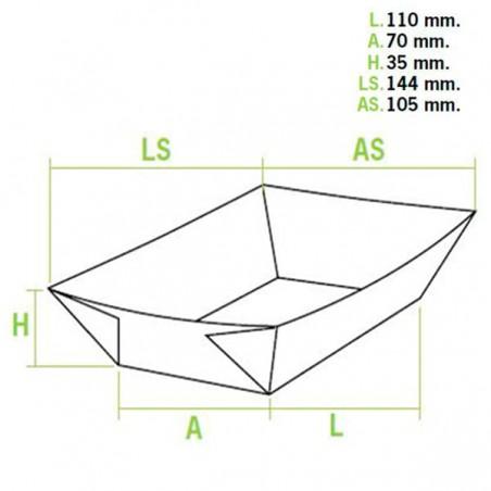 Barqueta 300ml Kraft 11x7x3,5cm (25 Uds)