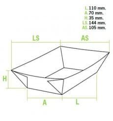 Barqueta 250cc Kraft 9,6x6,5x4,2cm (25 Unidades)