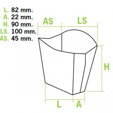 Caja Kraft para Fritas Pequeña 8,2x2,2x9cm (600 Uds)