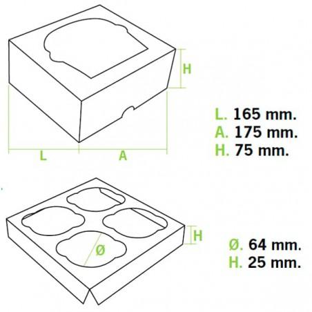 Caja 4 Cupcakes con Soporte 17,3x16,5x7,5cm Blanco(20 Uds)