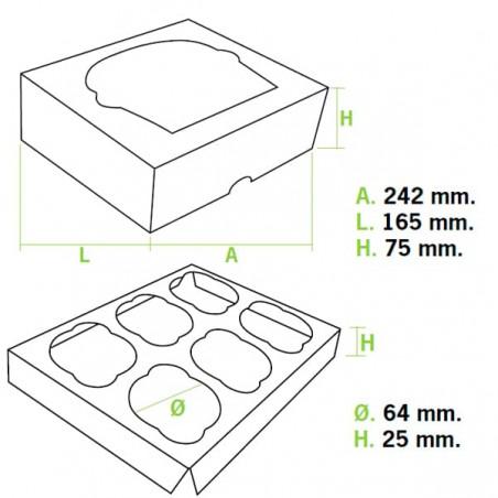 Caja 6 Cupcakes con Soporte 24,3x16,5x7,5cm Azul (100 Uds)