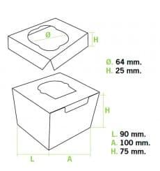 Caja con Soporte para 1 Cupcakes 11x10x7,5  Azul B-20 (200 Uds)