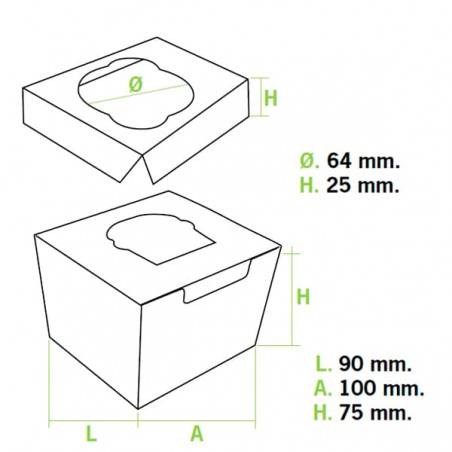 Caja 1 Cupcake con Soporte 11x10x7,5cm Azul (20 Uds)