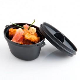 Cazuela Degustacion Negro con Tapa 9,1x5,8cm 65ml (6 Uds)