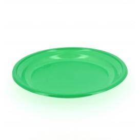 Plato de Plastico Llano Verde 205mm (10 Uds)
