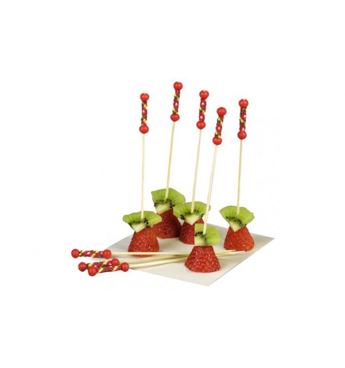 Pinchos de Bambú Decorados Rojo 120 mm (100 Uds)