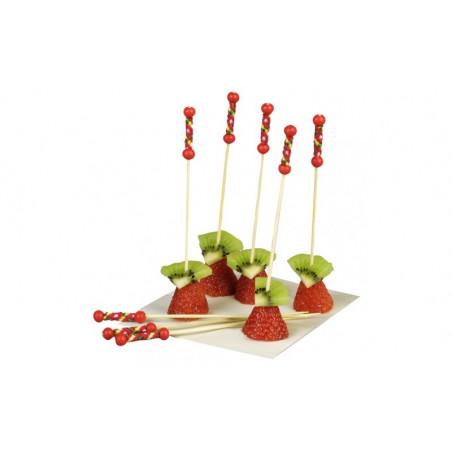 Pinchos de Bambú Decorados Rojo 120mm (10000 Uds)