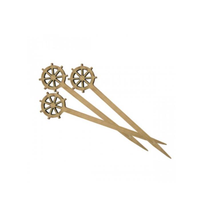 Pinchos de Bambu Decorados Timón 90 mm (100 Uds)