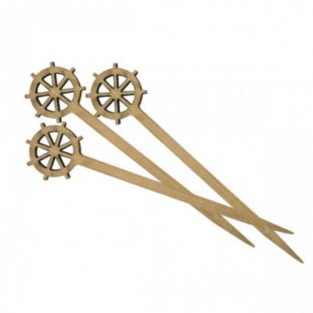 Pinchos de Bambu Decorados Timón 90 mm (10000 Uds)