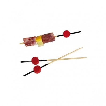 Pinchos de Bambu Decorados Rojo y Negro 120 mm (10000 Uds)