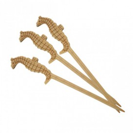 Pinchos de Bambu Decorados Caballito Mar 90 mm (100 Uds)