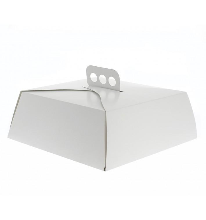 Caja Cartón Blanca Tarta Cuadrada 24,5x24,5x10 cm (50 Uds)