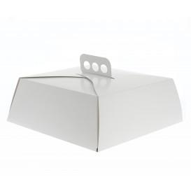 Caja de Cartón Blanca Tarta Cuadrada 24x24x10 cm (5 Uds)