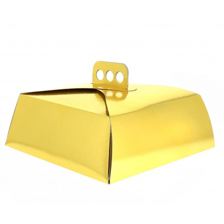 Caja de cartón para Tartas Oro 27x27x10 cm (50 Uds.)