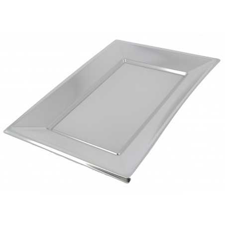 Bandeja de Plastico Plata 330x225mm (12 Uds)