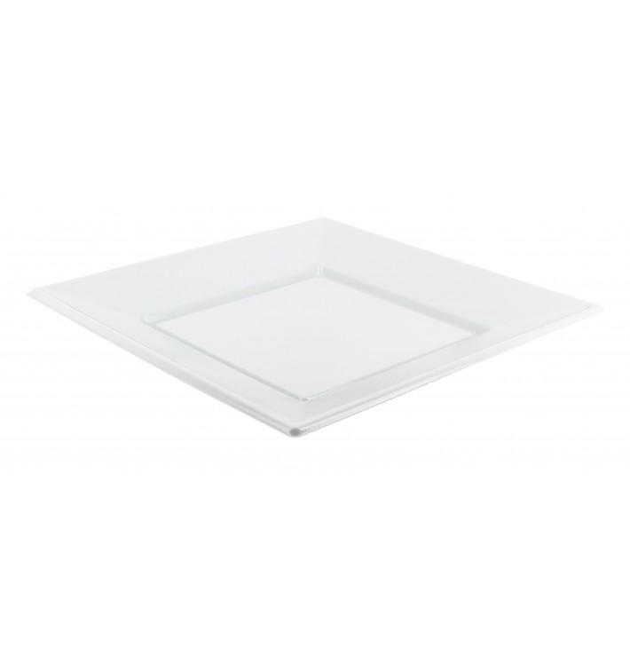 Plato de Plastico Llano Cuadrado Blanco 230mm (5 Uds)