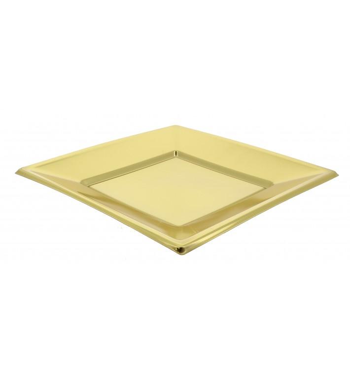 Plato de Plastico Llano Cuadrado Oro 230mm (25 Uds)