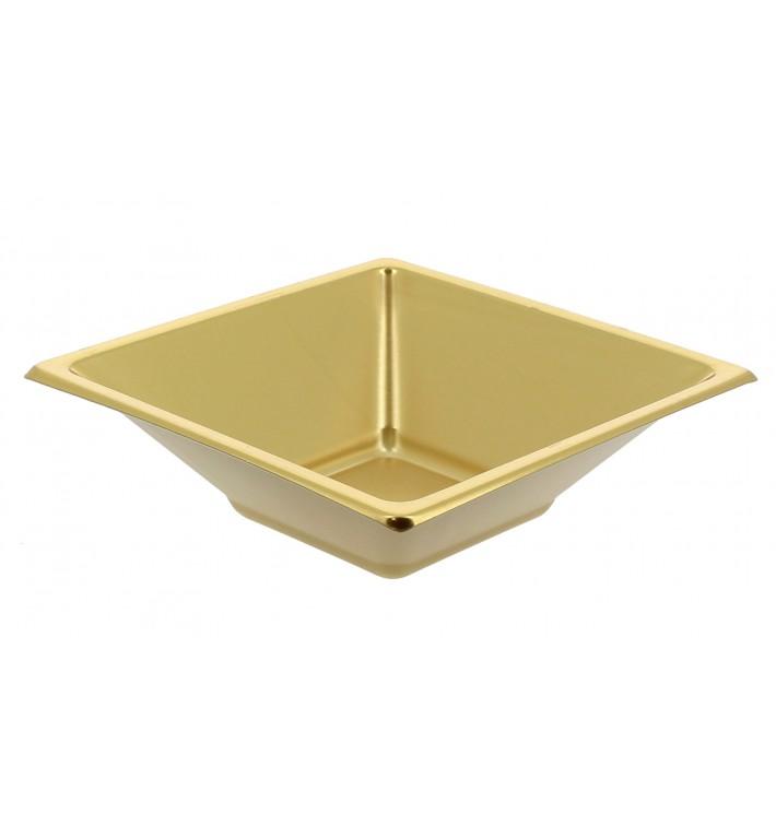 Bol de Plástico PS Cuadrado Oro 12x12cm (300 Uds)