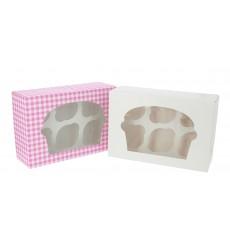 Caja 6 Cupcakes con Soporte 24,3x16,5x7,5cm Blanca (20 Uds)