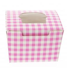 Caja 1 Cupcake con Soporte 11x10x7,5cm Rosa (20 Uds)
